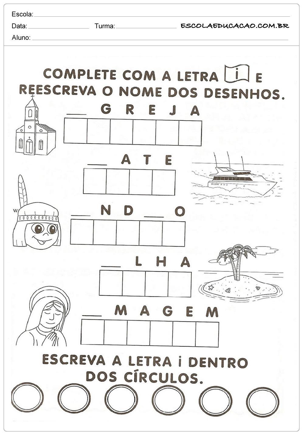 Atividade Letra I – Complete os Quadrinhos