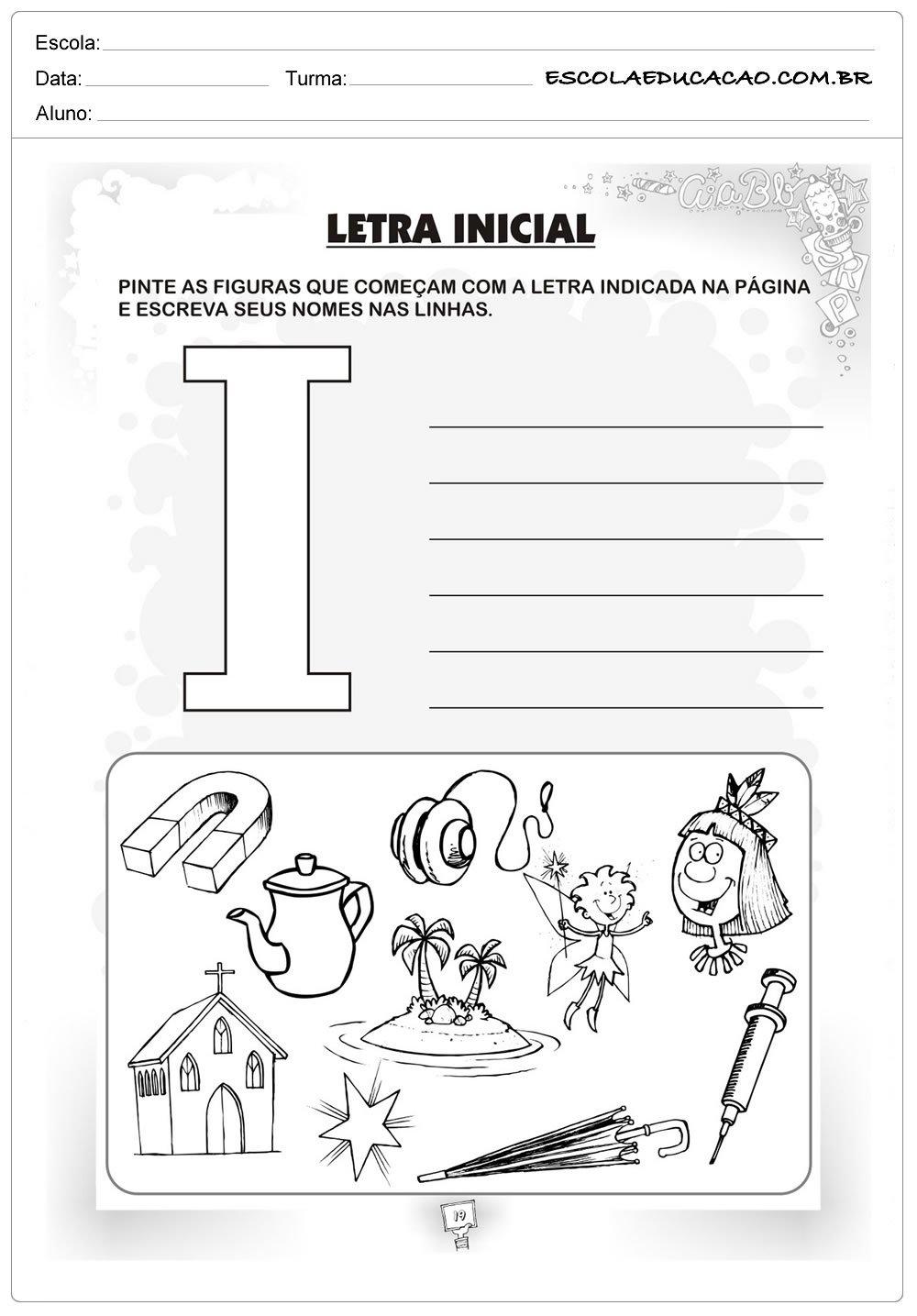 Atividade Letra I - Criatividade