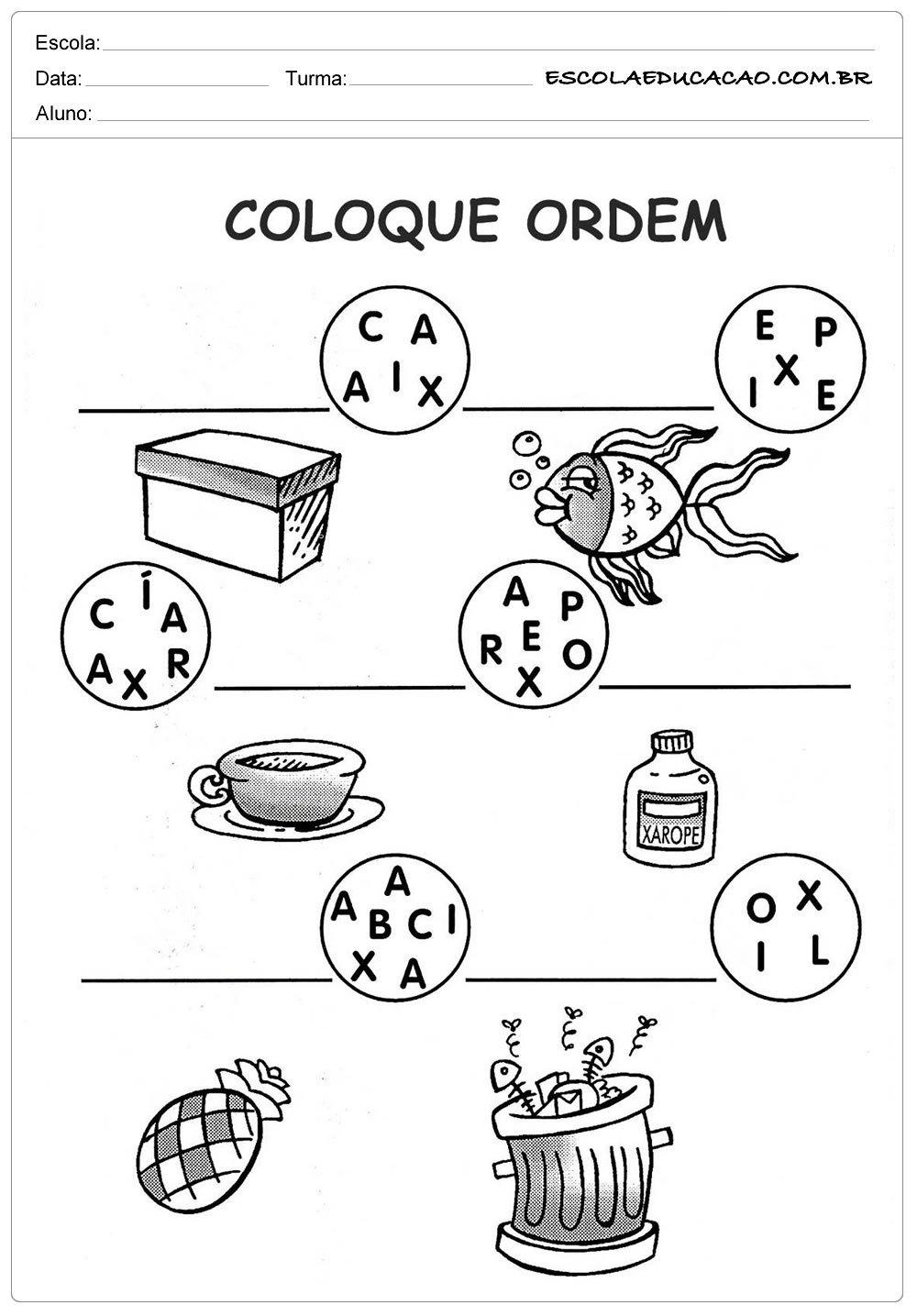 Atividades Letra X - Coloque em Ordem