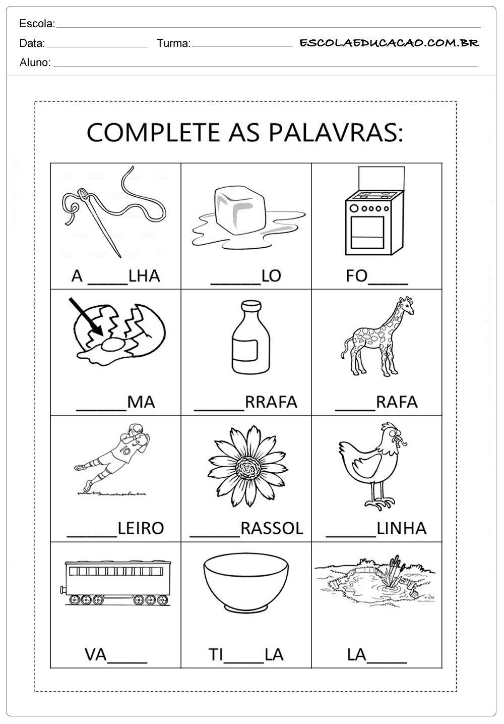 Atividades com a Letra G – Complete as Palavras