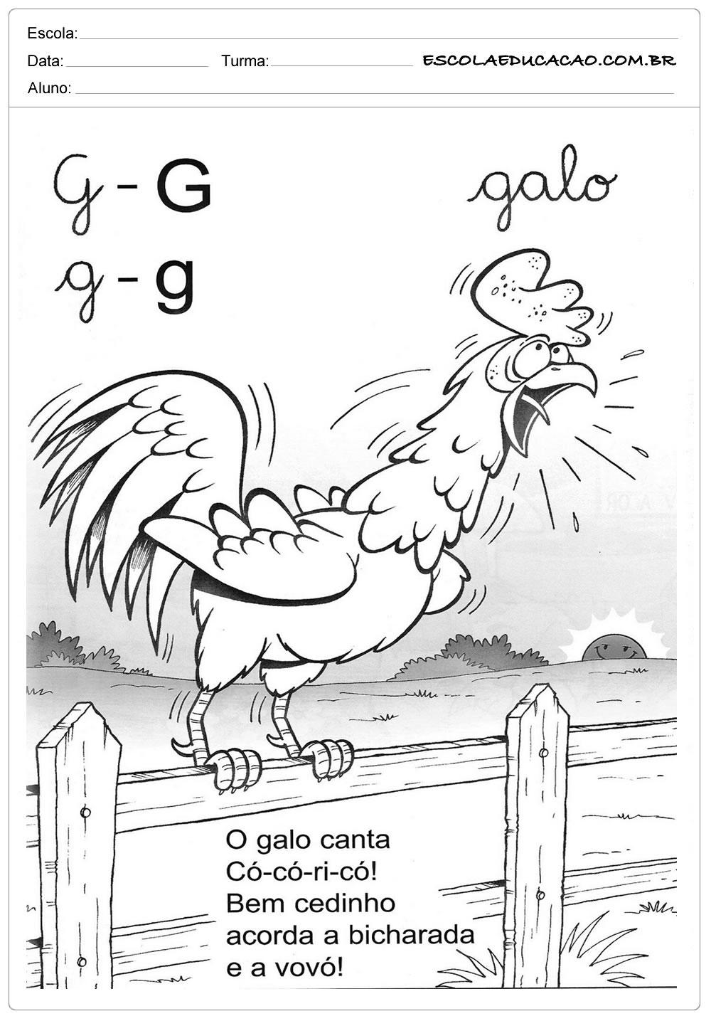 Atividades com a Letra G - Educação Infantil