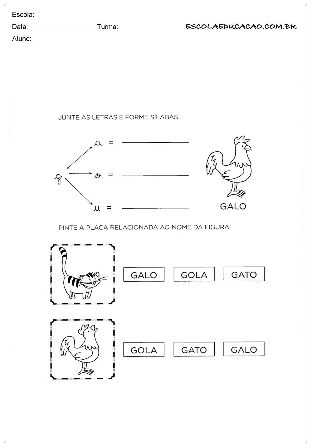 Atividades com a Letra G – Junte as Letras