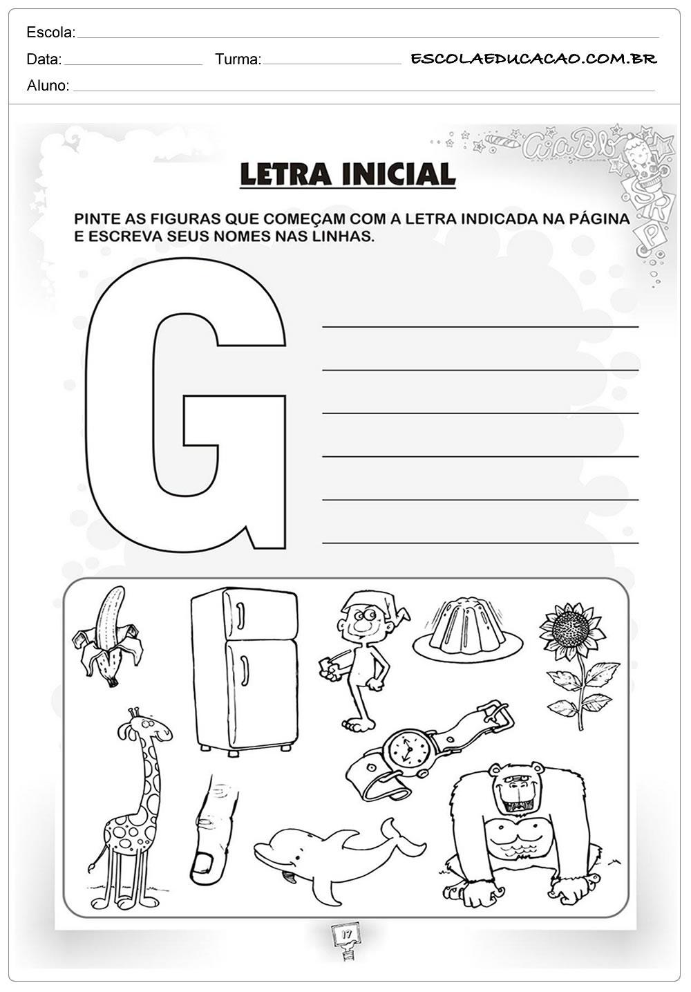 Atividades com a Letra G - Palavras com a letra G