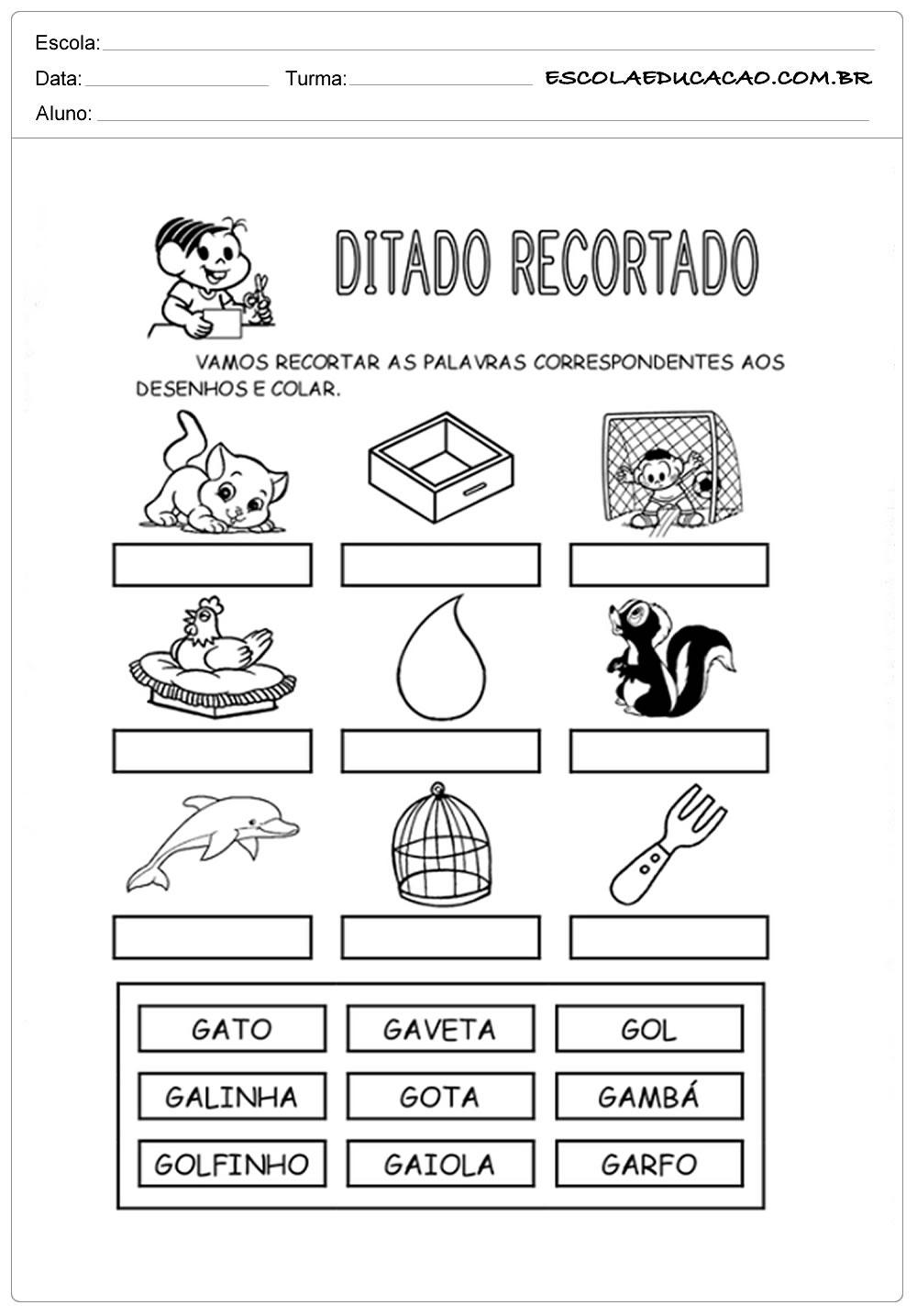 Atividades com a Letra G - Turma da Mônica