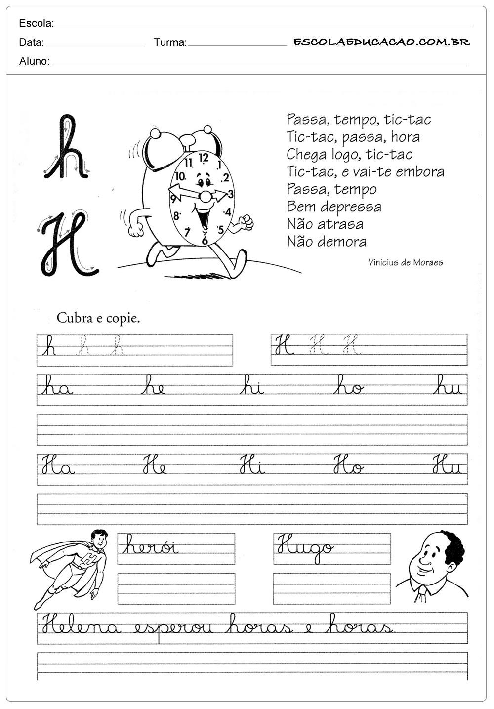 Atividade Letra H – Cubra e Copie