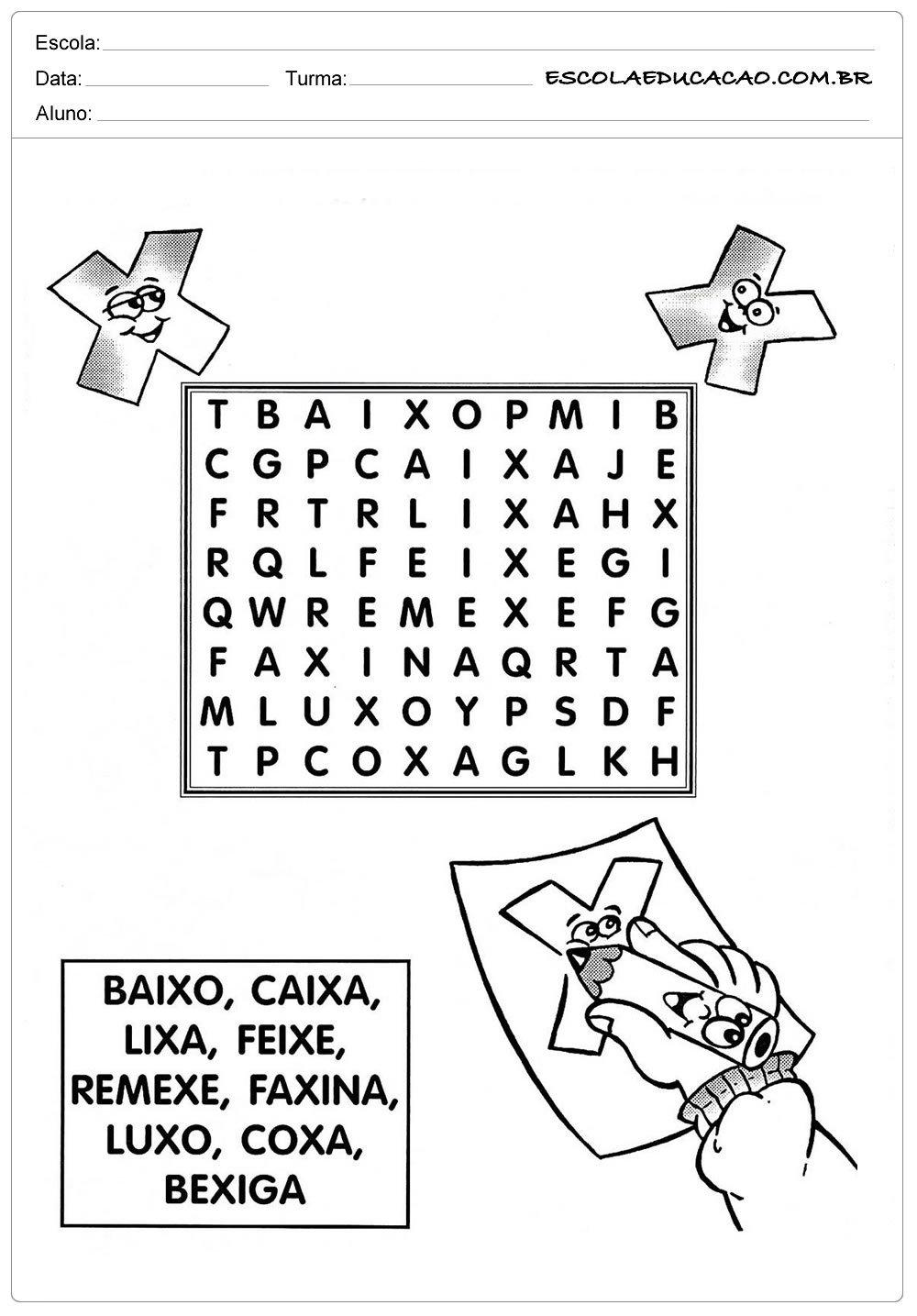 Atividades Letra X – Caça Palavras