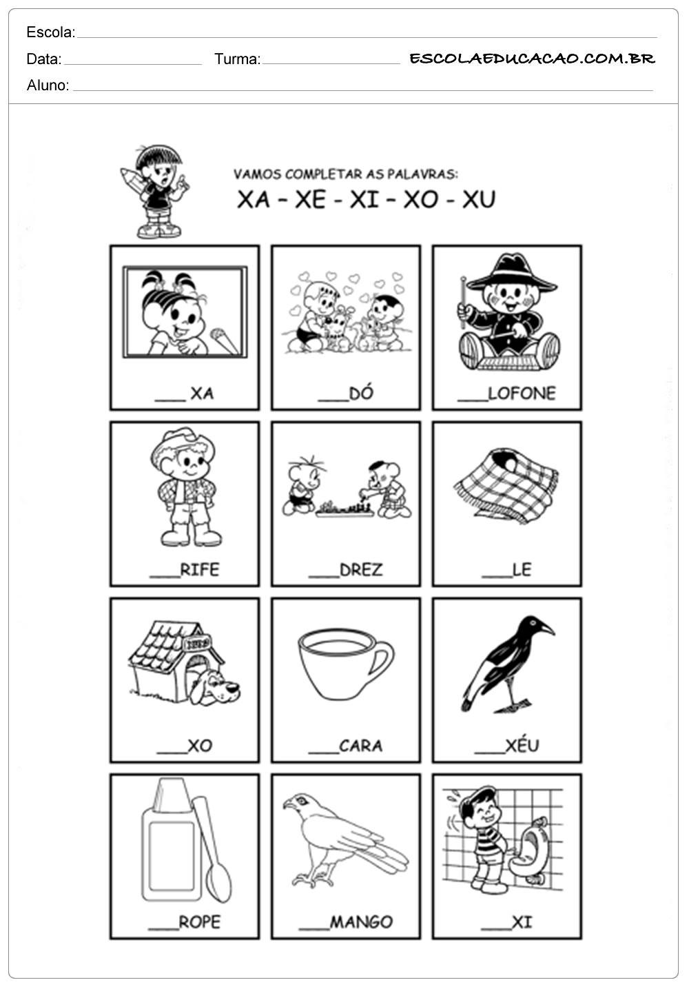 Atividades Letra X – Complete Corretamente