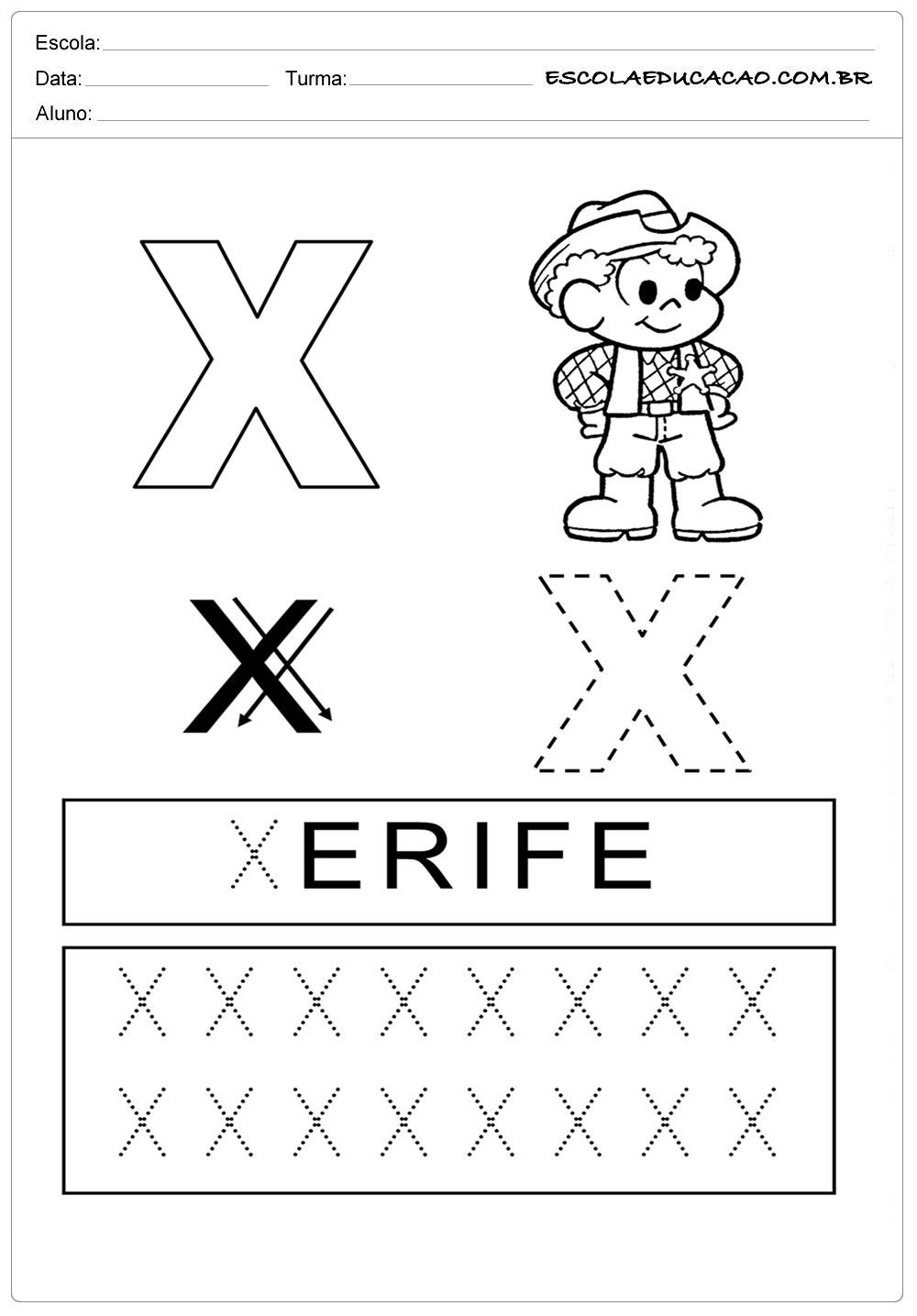 Atividades Letra X – Atividade de Pontilhado