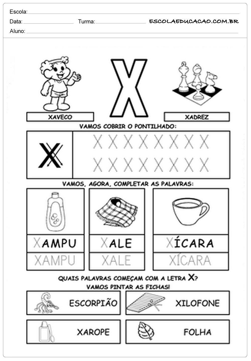 Atividades Letra X - Atividade Turma da Mônica