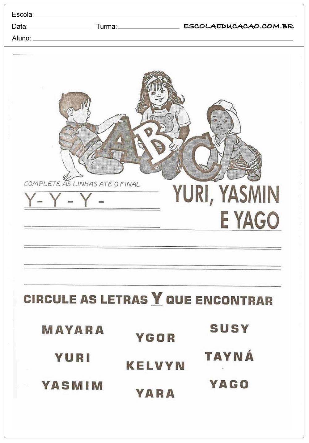 Atividade Letra Y - Complete Corretamente