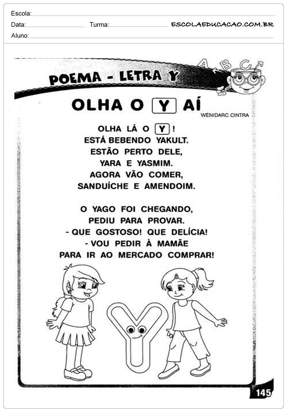 Atividade Letra Y – Poema com a Letra Y