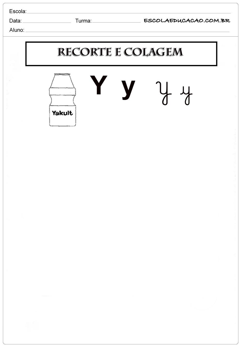 Atividade Letra Y - Recorte e Colagem