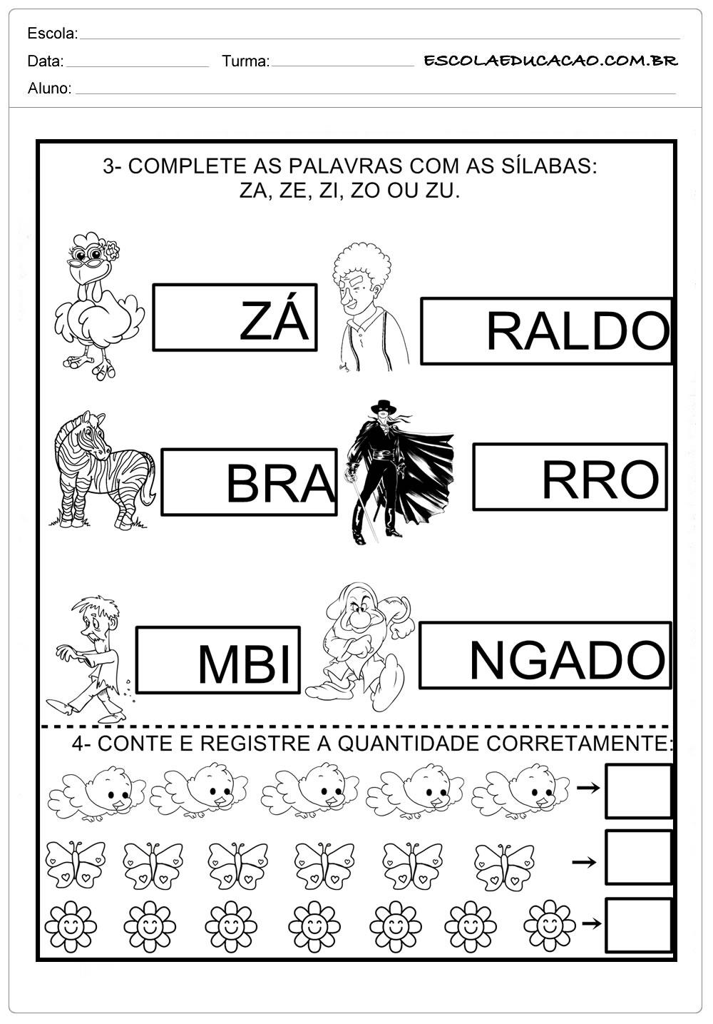 Atividade com a Letra Z - Complete os quadrinhos