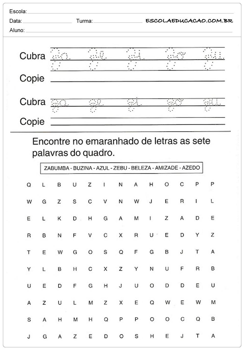 Atividade com a Letra Z – Copie corretamente