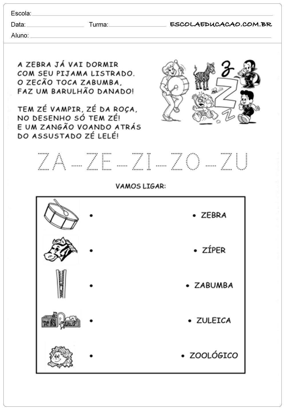 Atividade com a Letra Z – Ligue Corretamente