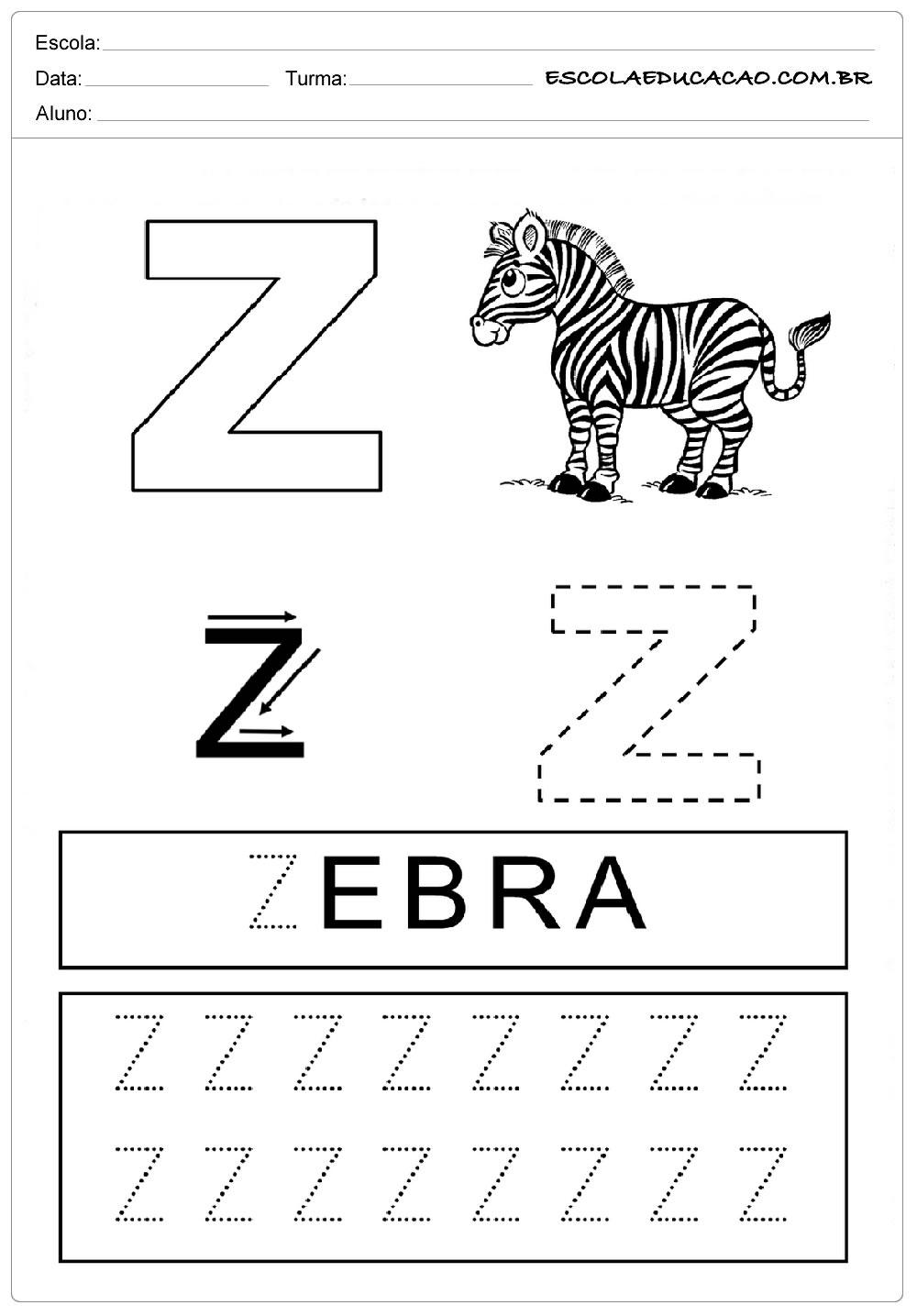Atividade com a Letra Z – Atividade com Pontilhado