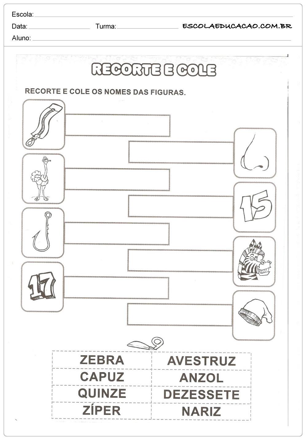 Atividade com a Letra Z - Recorte e Cole