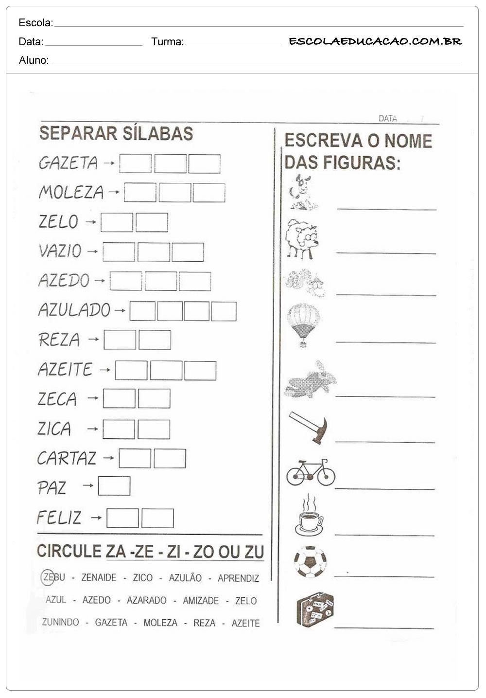 Atividade com a Letra Z - Separe as Sílabas
