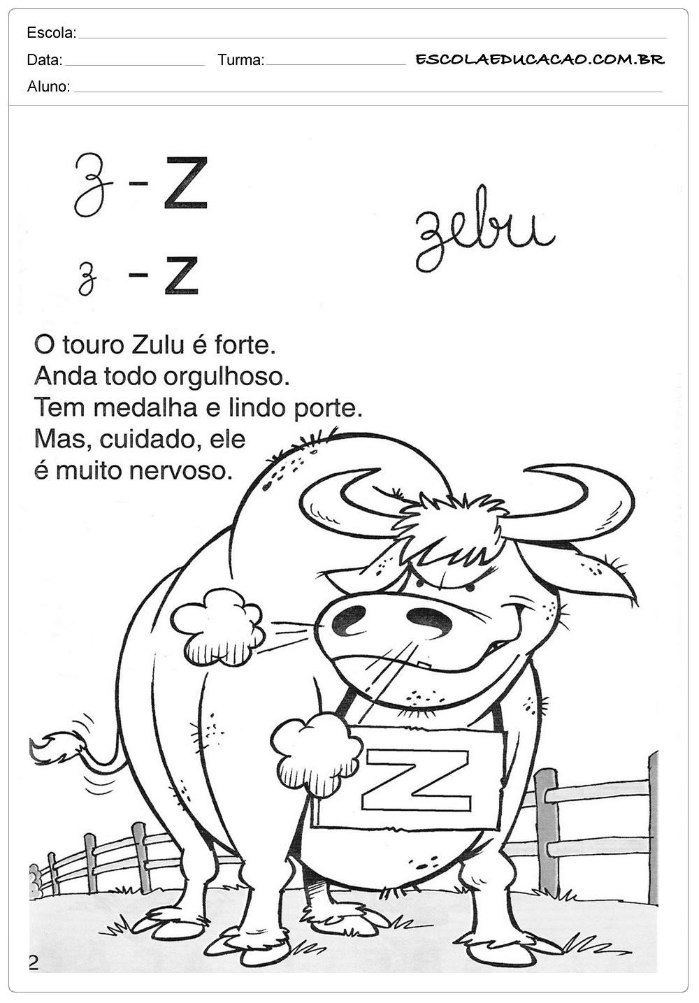 Atividade com a Letra Z - Texto com a letra Z