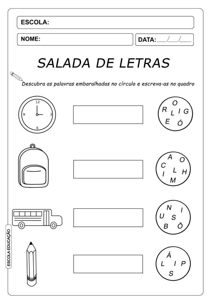 Atividade de Alfabetização - Salada de Letras