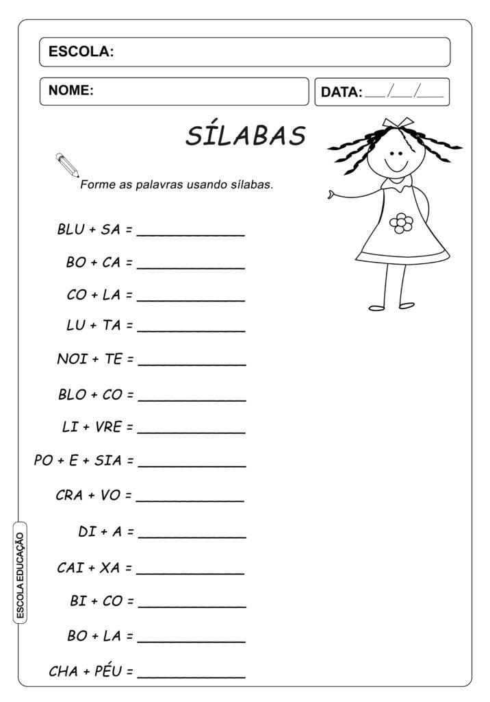 Atividade de Alfabetização - Forme as Sílabas