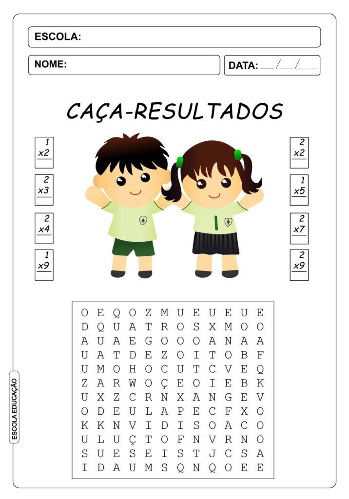 Atividades de Caça Palavras 2º Ano - Caça Palavras de Multiplicação