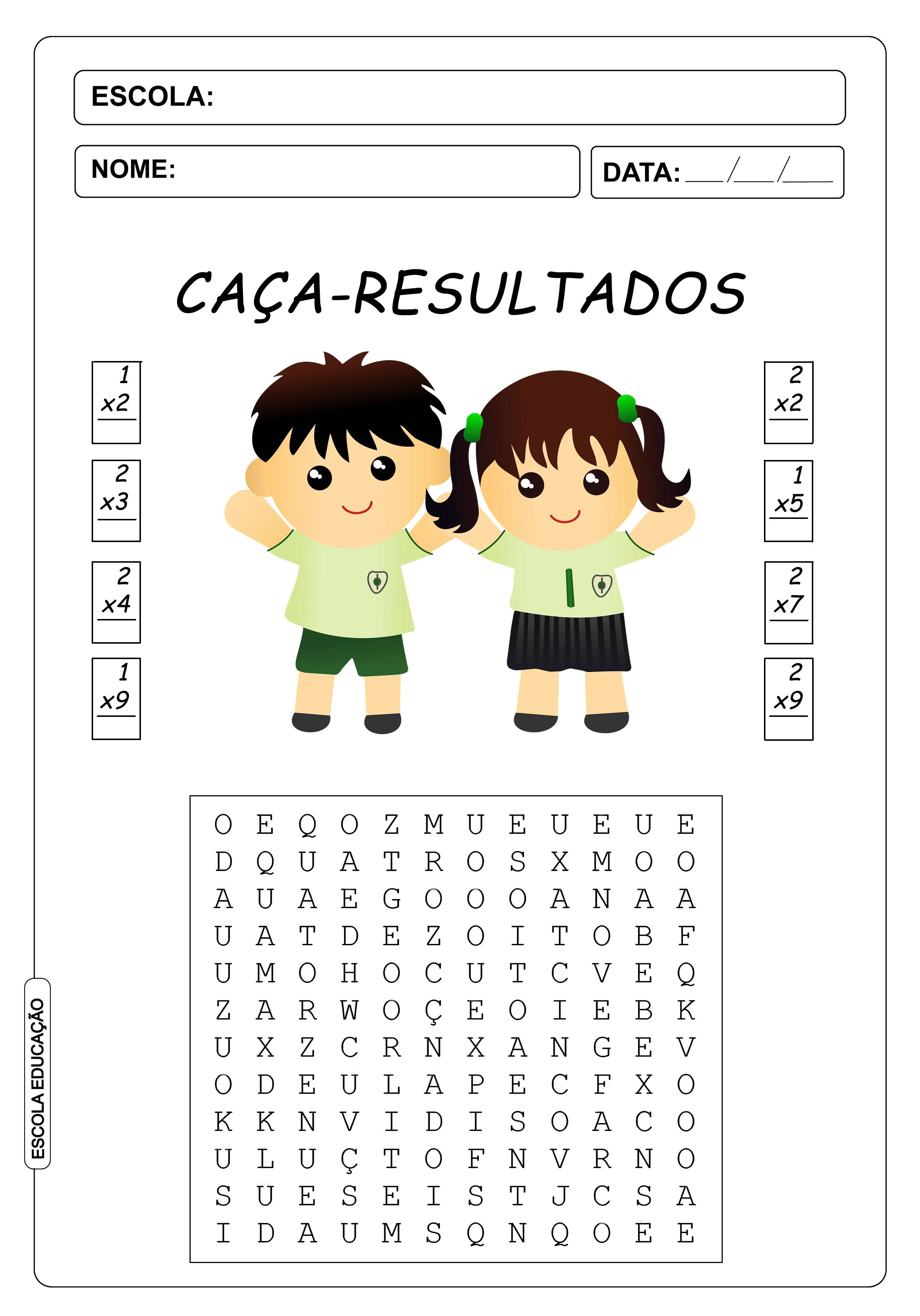 Atividades de Caça Palavras 2º Ano – Caça Palavras de Multiplicação