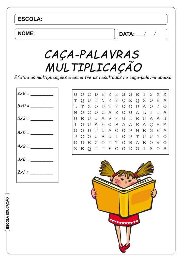 Atividades de Caça-Palavras 3º ano - Multiplicação