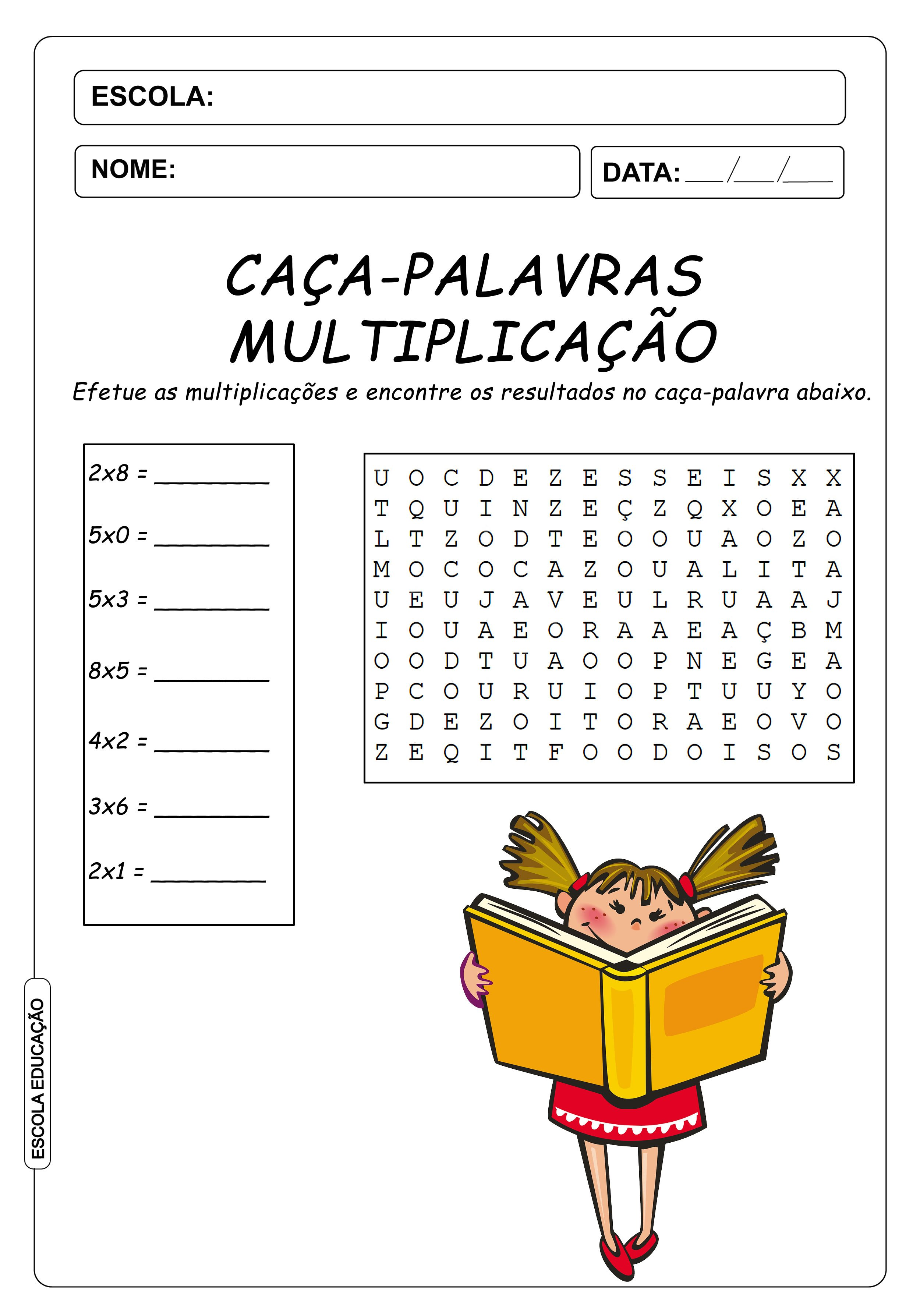 Atividades de Caça-Palavras 3º ano – Multiplicação