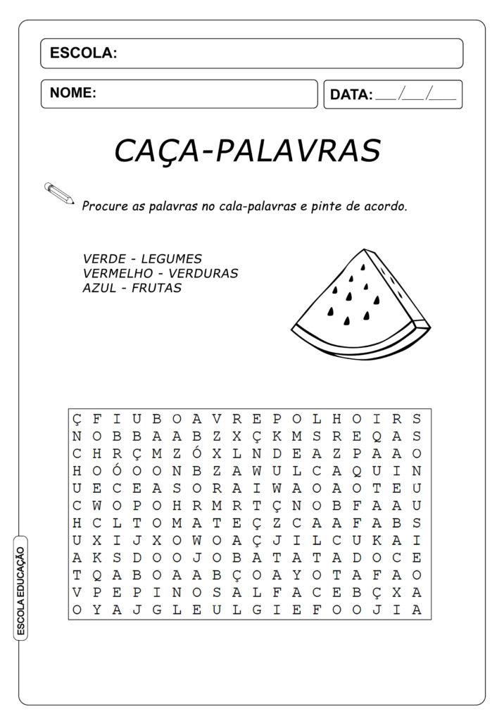 Atividades Caça Palavras 4º ano - Frutas, Verduras e Legumes