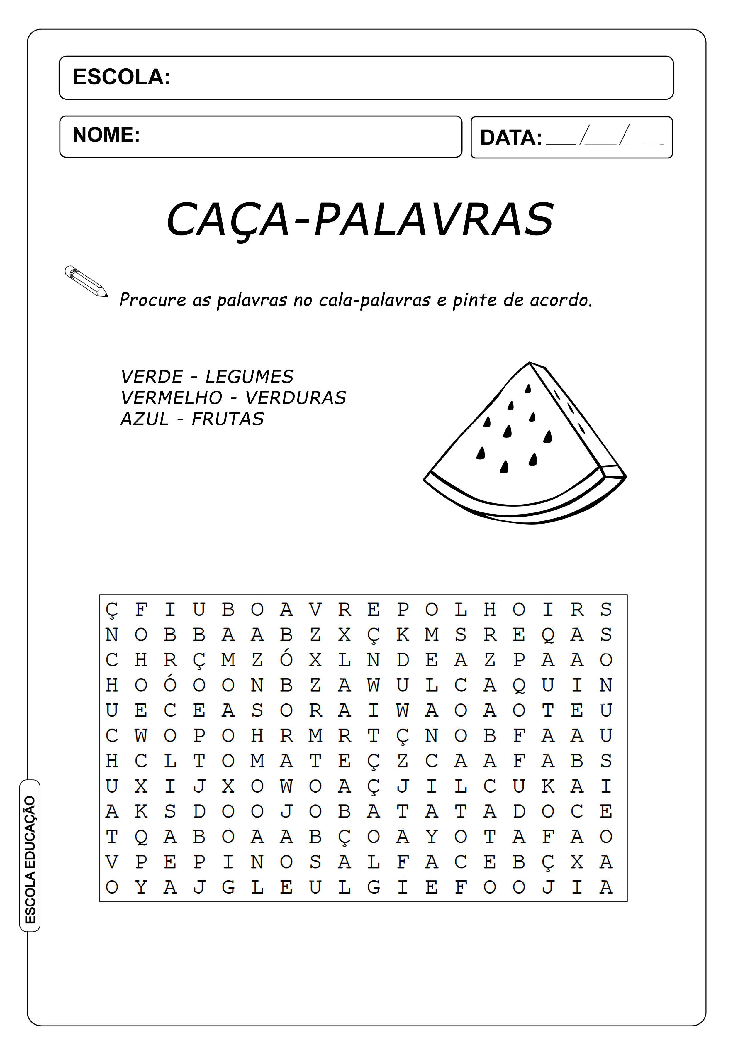 Atividades Caça Palavras 4º ano – Frutas, Verduras e Legumes