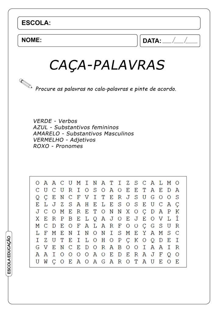 Atividades Caça Palavras 4º ano - Pinte as Palavras de Acordo - Caça-Palavras de Português