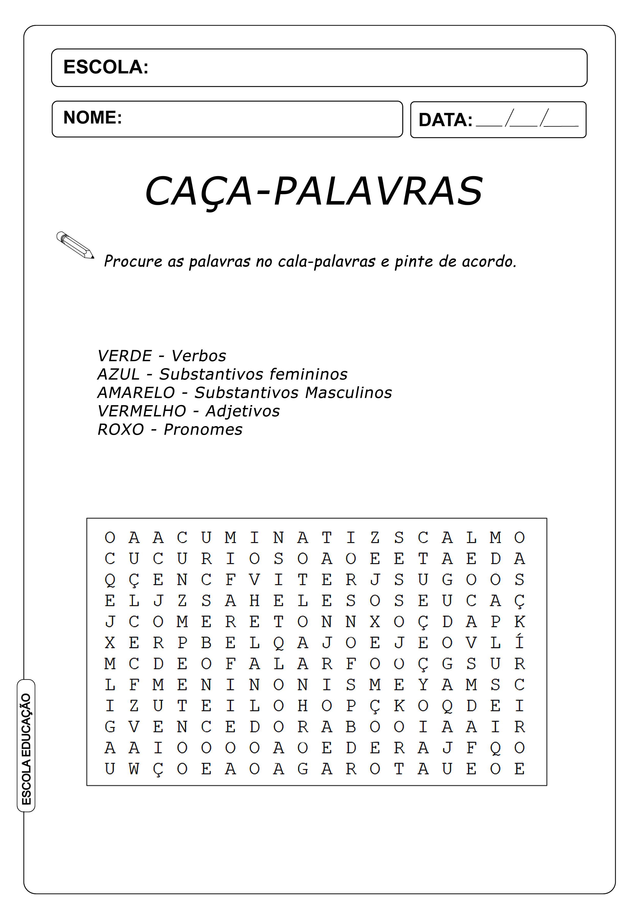 Atividades Caça Palavras 4º ano – Pinte as Palavras de Acordo – Caça-Palavras de Português