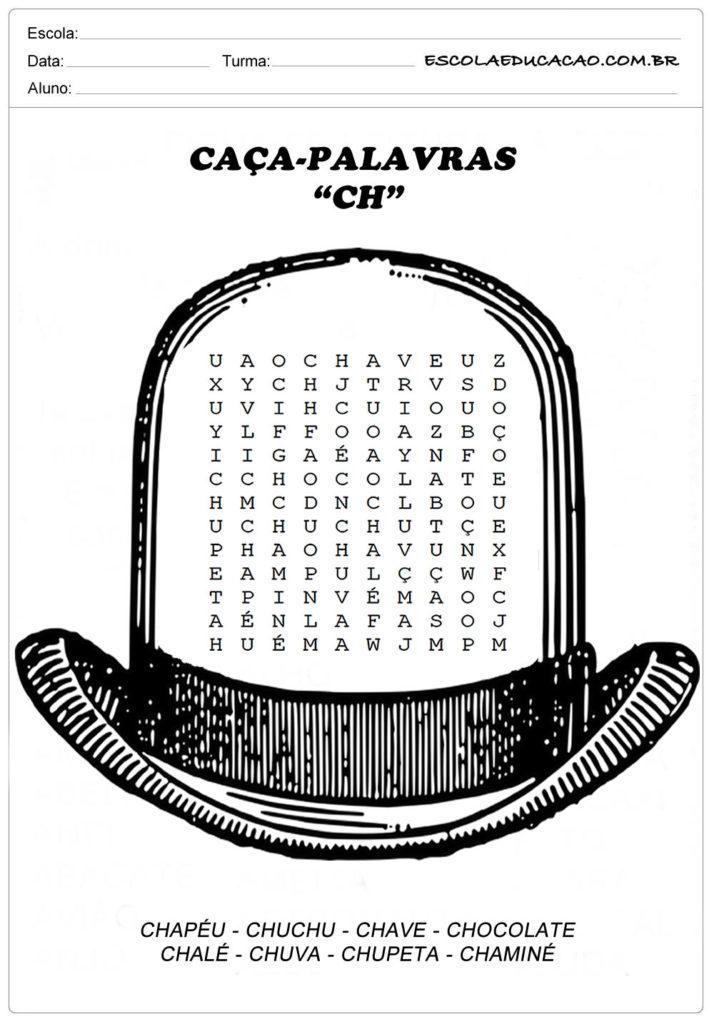 Atividades de Caça Palavras - Encontre no Chapéu as palavras com CH