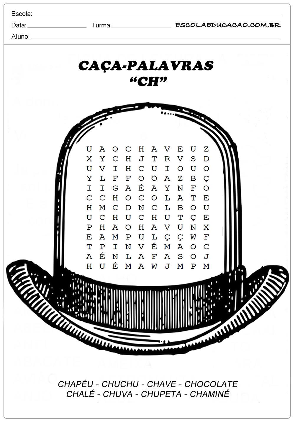 Atividades de Caça Palavras – Encontre no Chapéu as palavras com CH