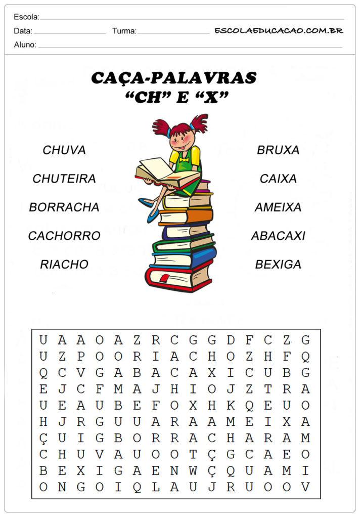 Atividades de Caça Palavras - Caça-Palavras com X e CH