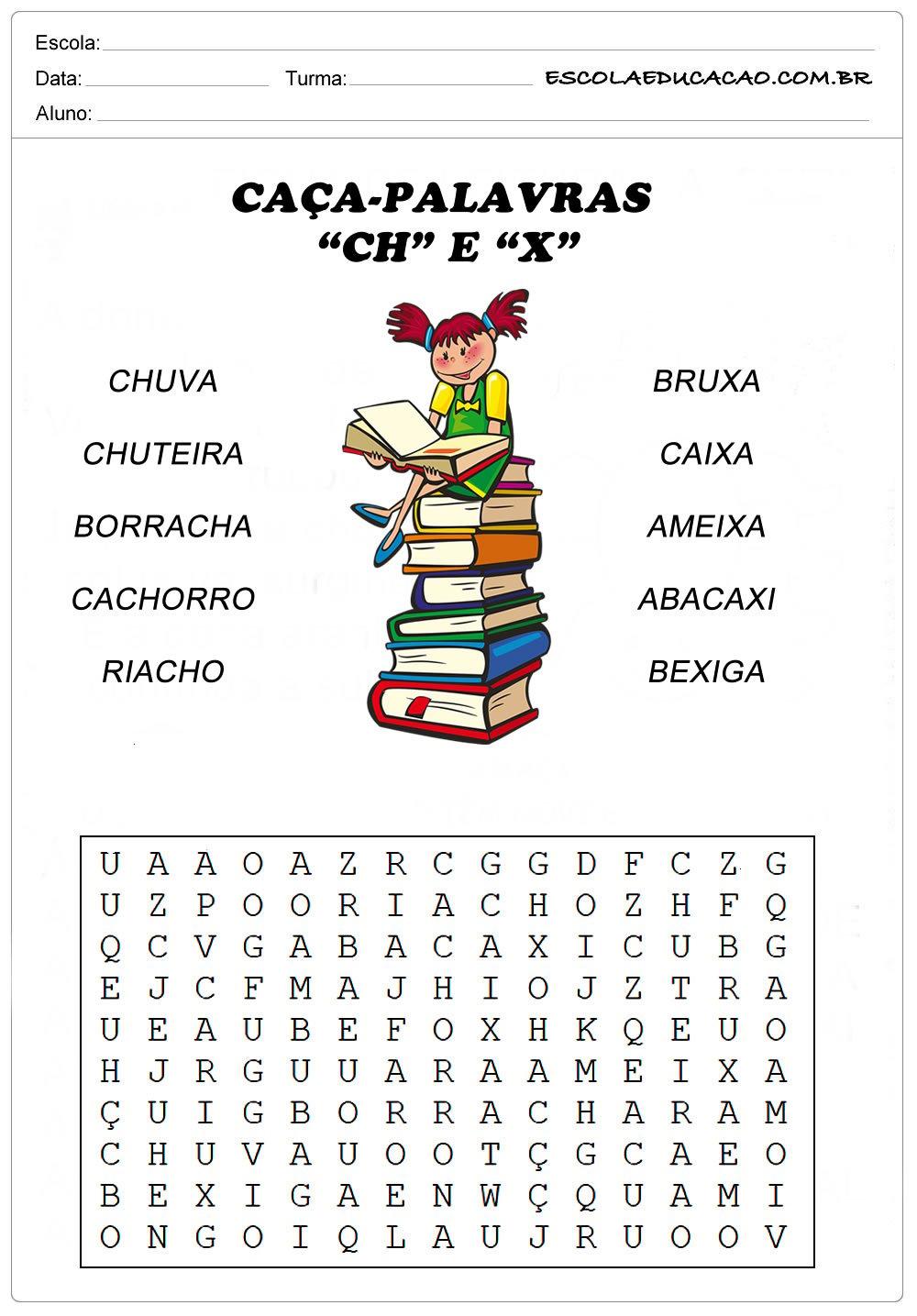 Atividades de Caça Palavras – Caça-Palavras com X e CH