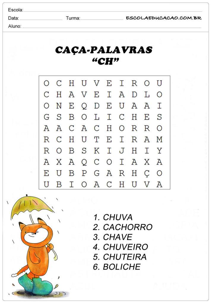Atividades de Caça Palavras - Encontre as palavras indicadas no Caça-Palavras