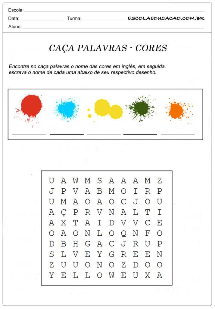 Atividades de Inglês caça palavras - Cores