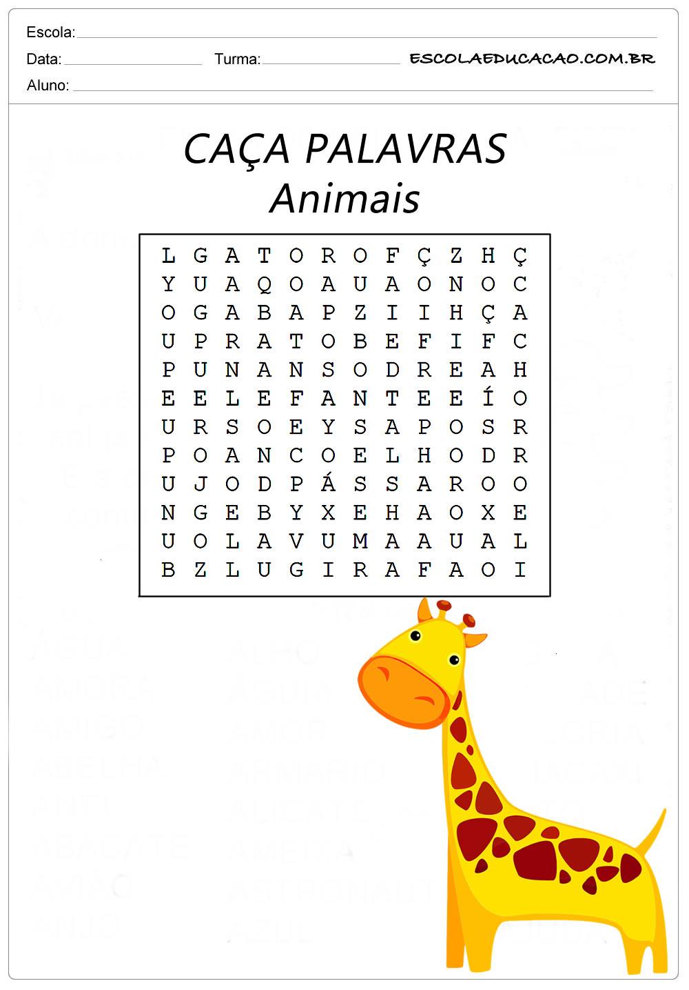 Atividades Caça Palavras 1º Ano – Animais