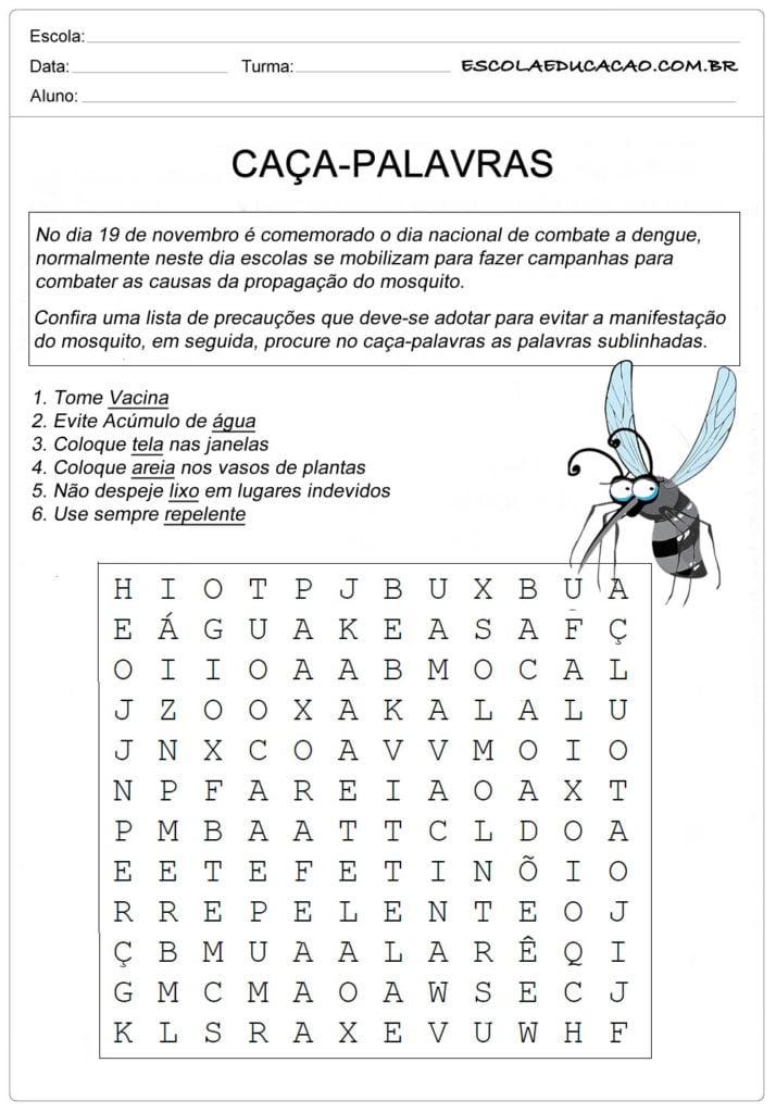 Atividade de Caça-Palavra sobre a dengue - Caça-Palavra de Precauções contra a dengue