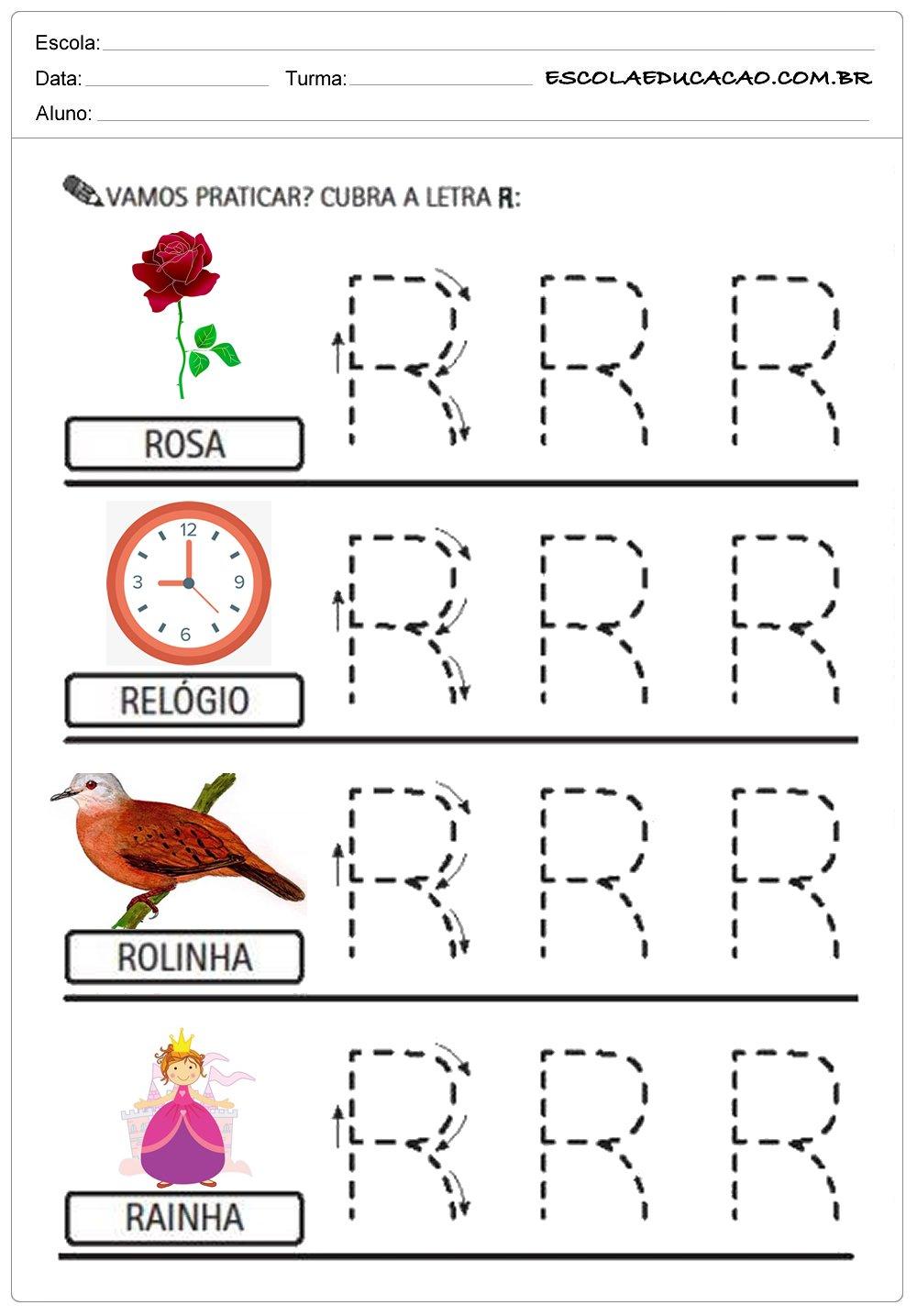 Cubra a letra R