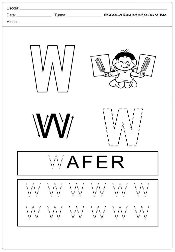 Cubra os pontilhados da letra W