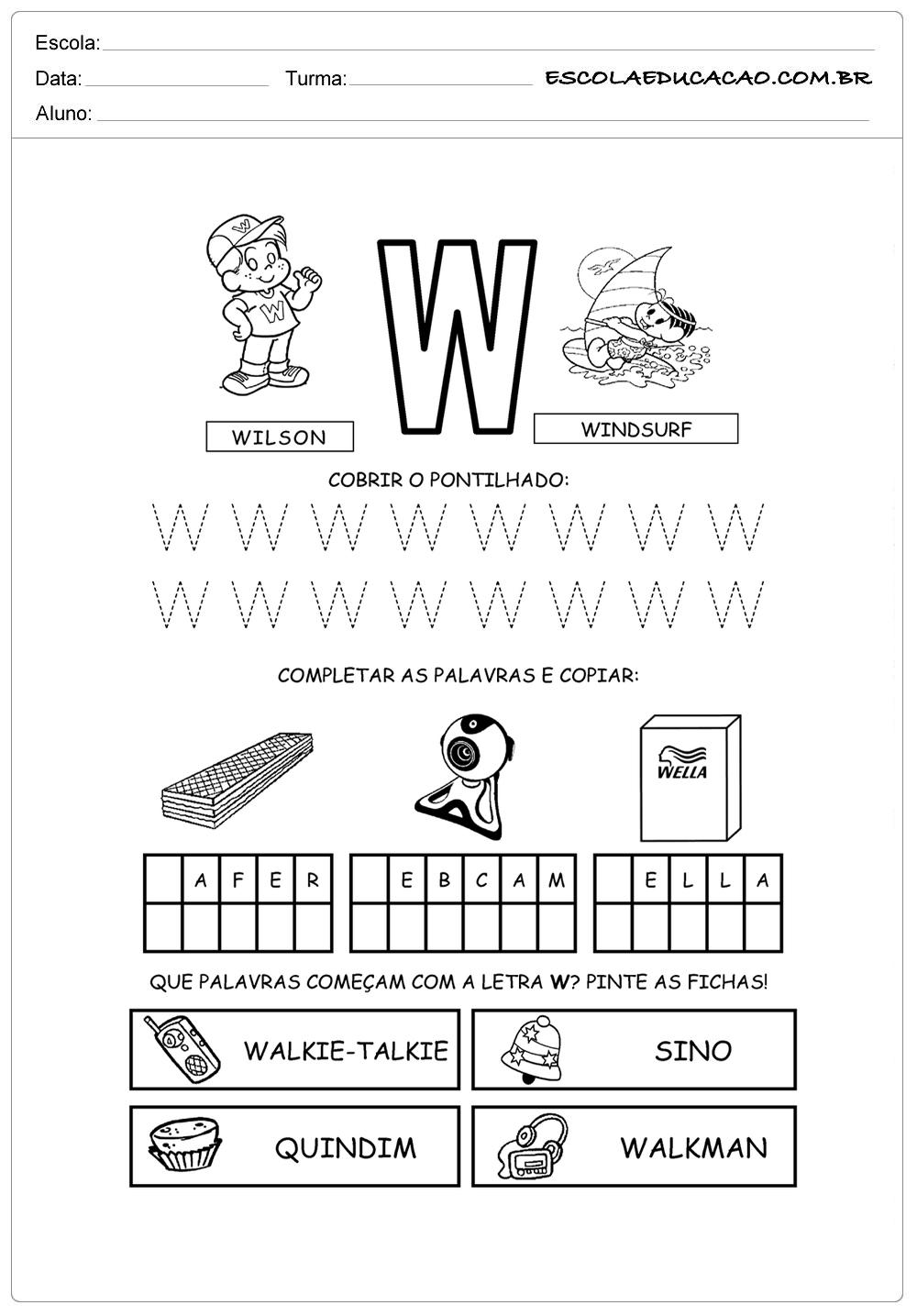 Cubra os pontos da letra W