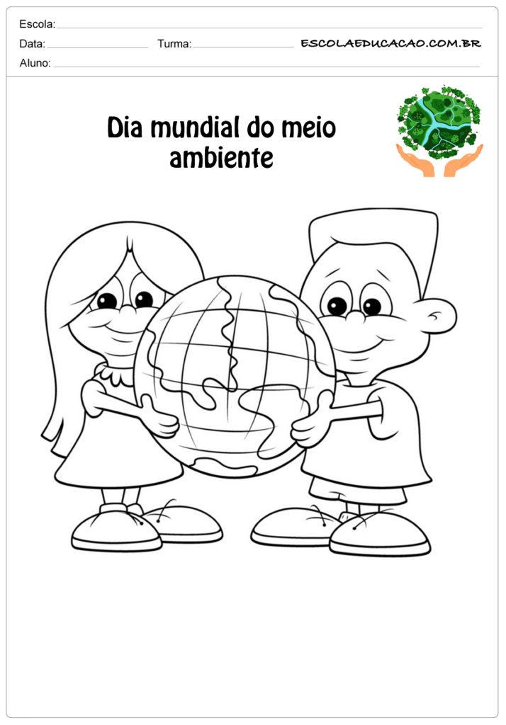 Desenhos para colorir do meio ambiente criança segurando a terra
