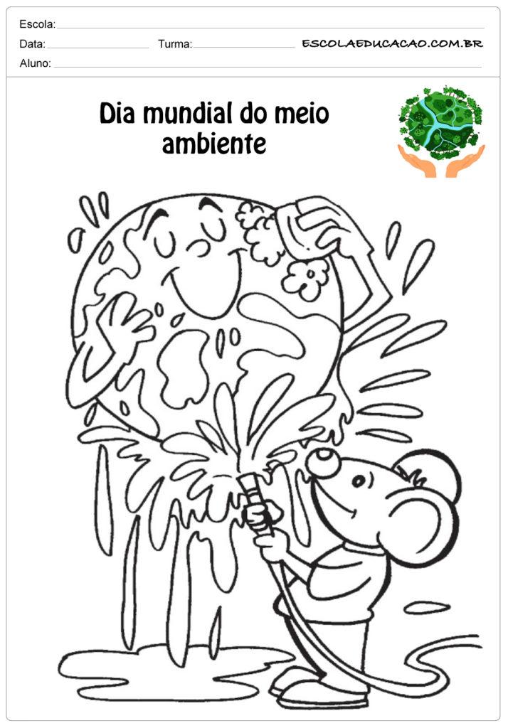 Desenhos para colorir do meio ambiente lavando a terra