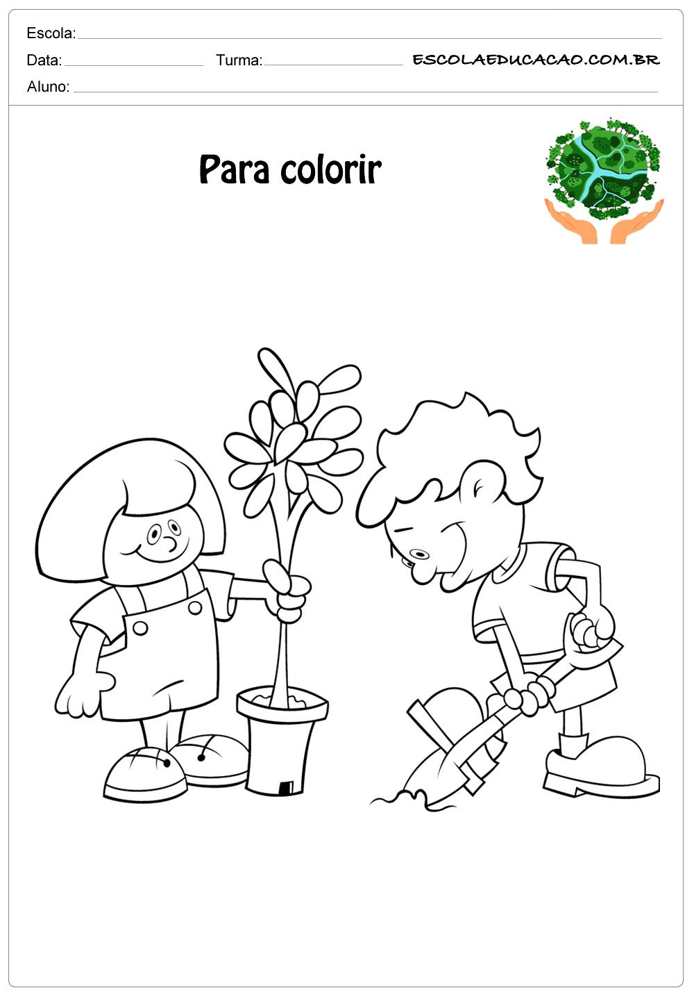 Desenhos para colorir meio ambiente-cuide-de nosso planeta para colorir