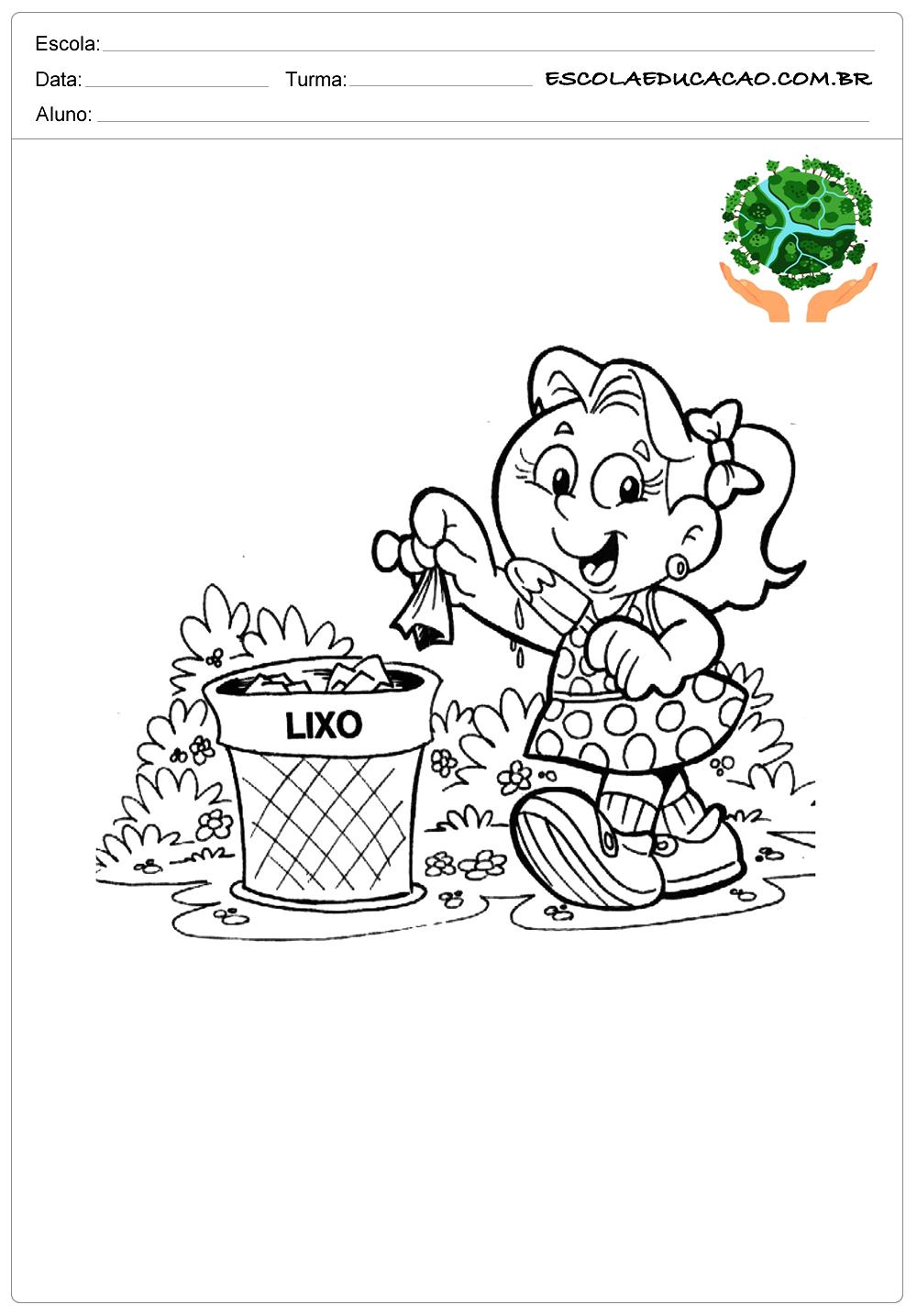 Desenhos para colorir meio ambiente menina jogando lixo na lixeira