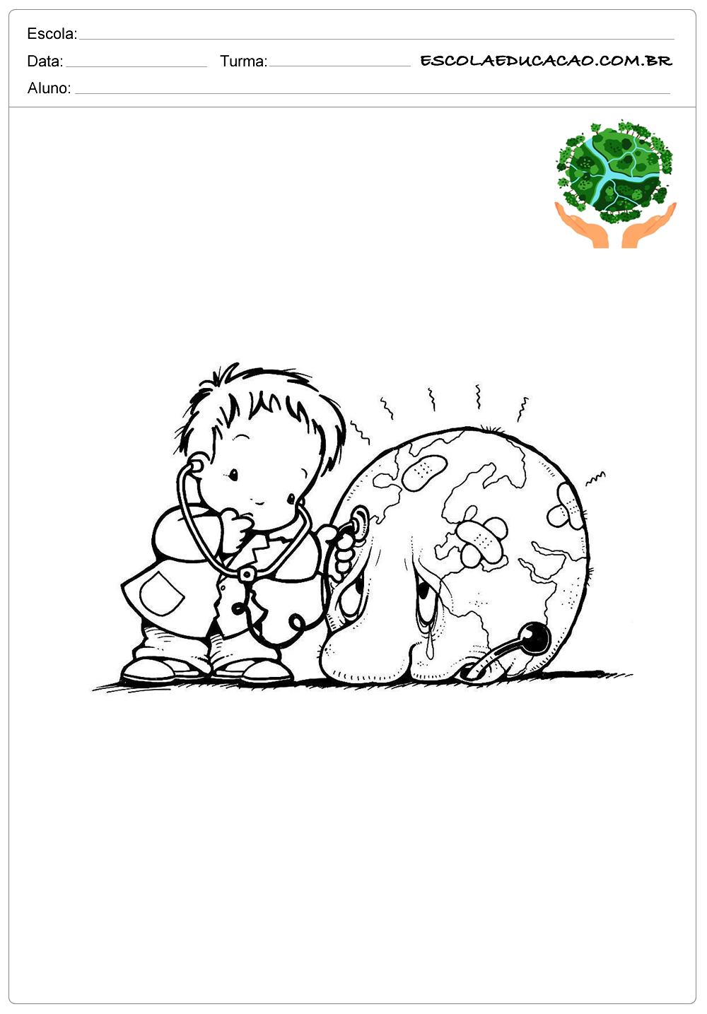 Desenhos para colorir meio ambiente menino cuidando da terra