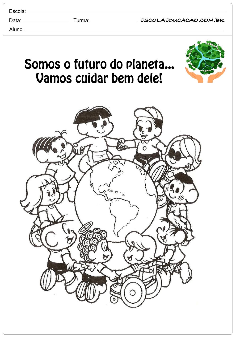 Desenhos para colorir meio ambiente somos o futuro do planeta